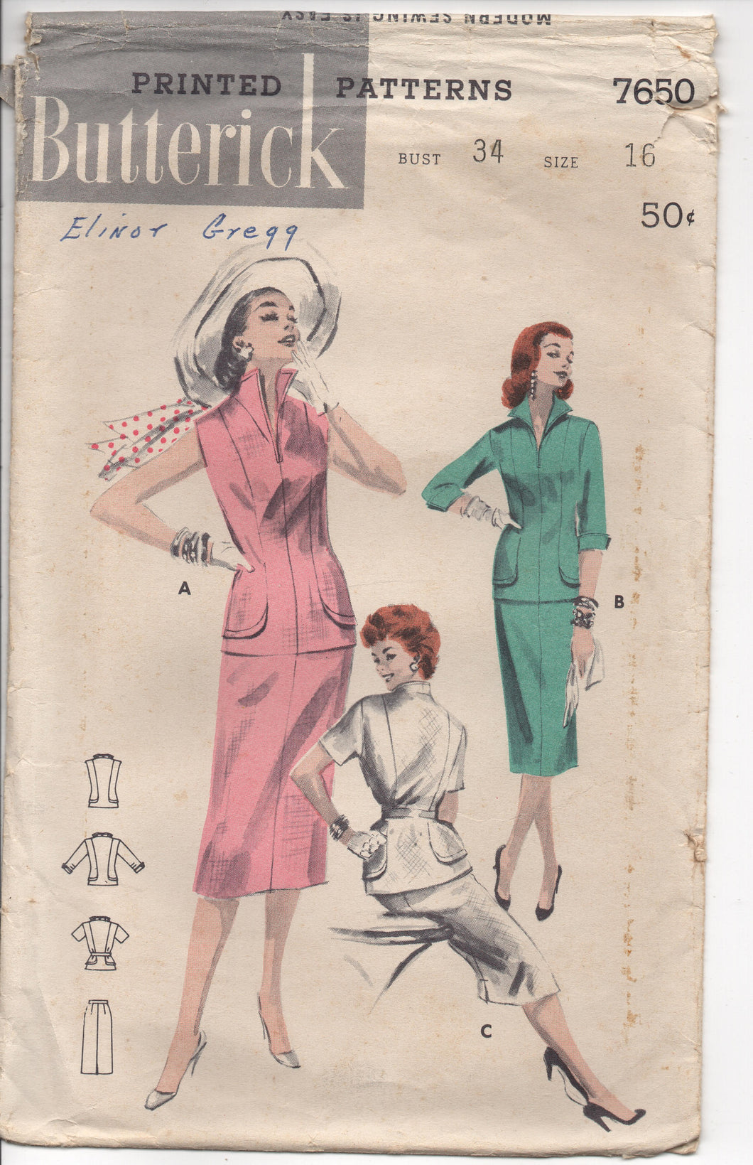 1950's Butterick Two Piece Dress with Elongated lines and Stand-up Collar Pattern - Bust 34