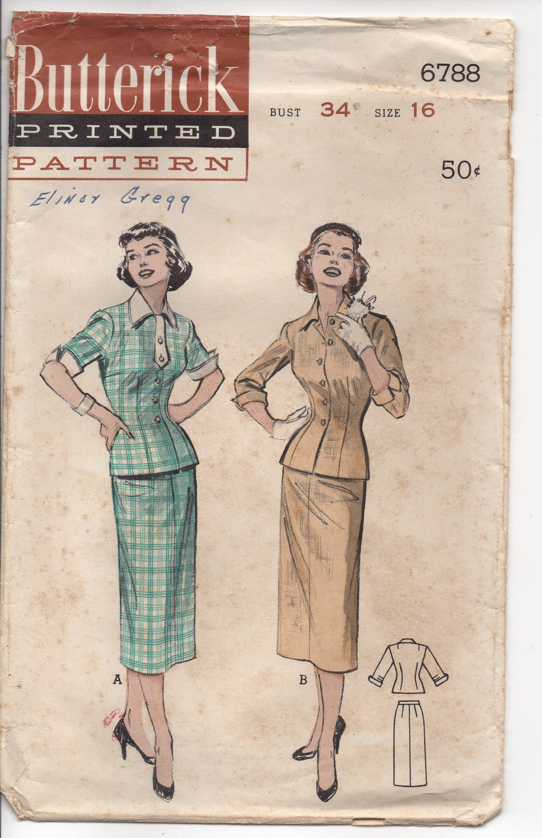 1950's Butterick Two Piece Dress with Button Up Fitted Top Pattern - Bust 34
