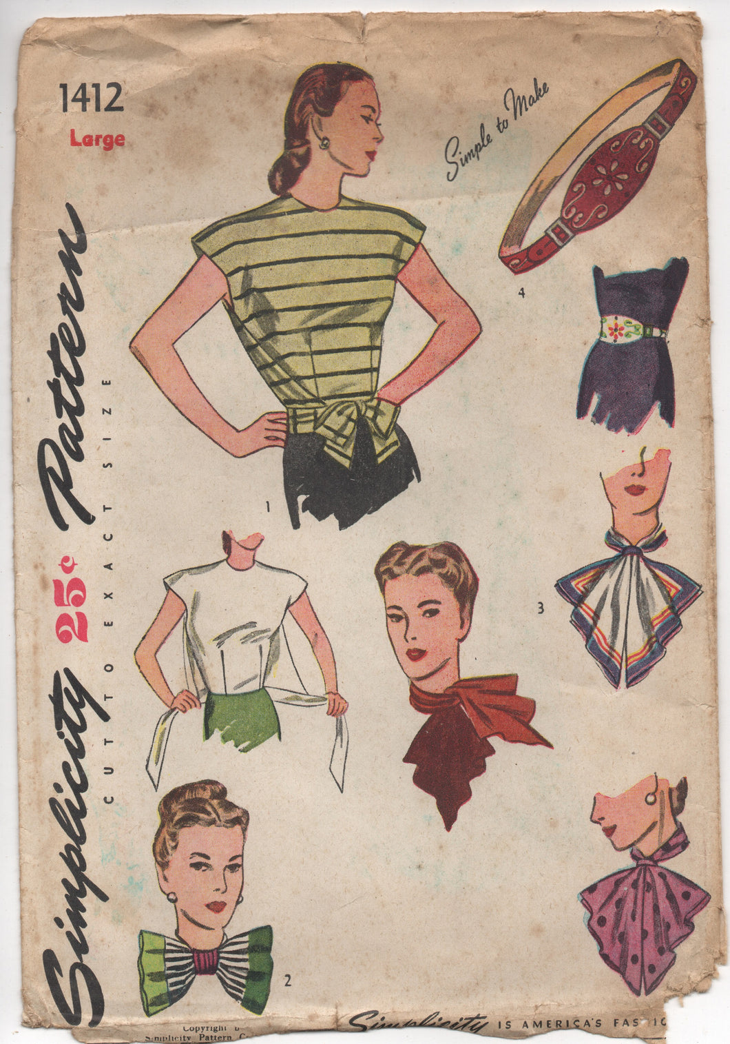 1940's Simplicity Wrap Blouse with Tie-Front, Belt, Jabot, Scarf, Necktie Pattern - Bust 38-40