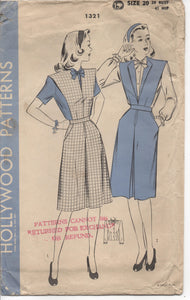 "1940's Hollywood One-Piece Dress and Blouse Pattern - Bust 38"" - No. 1321"