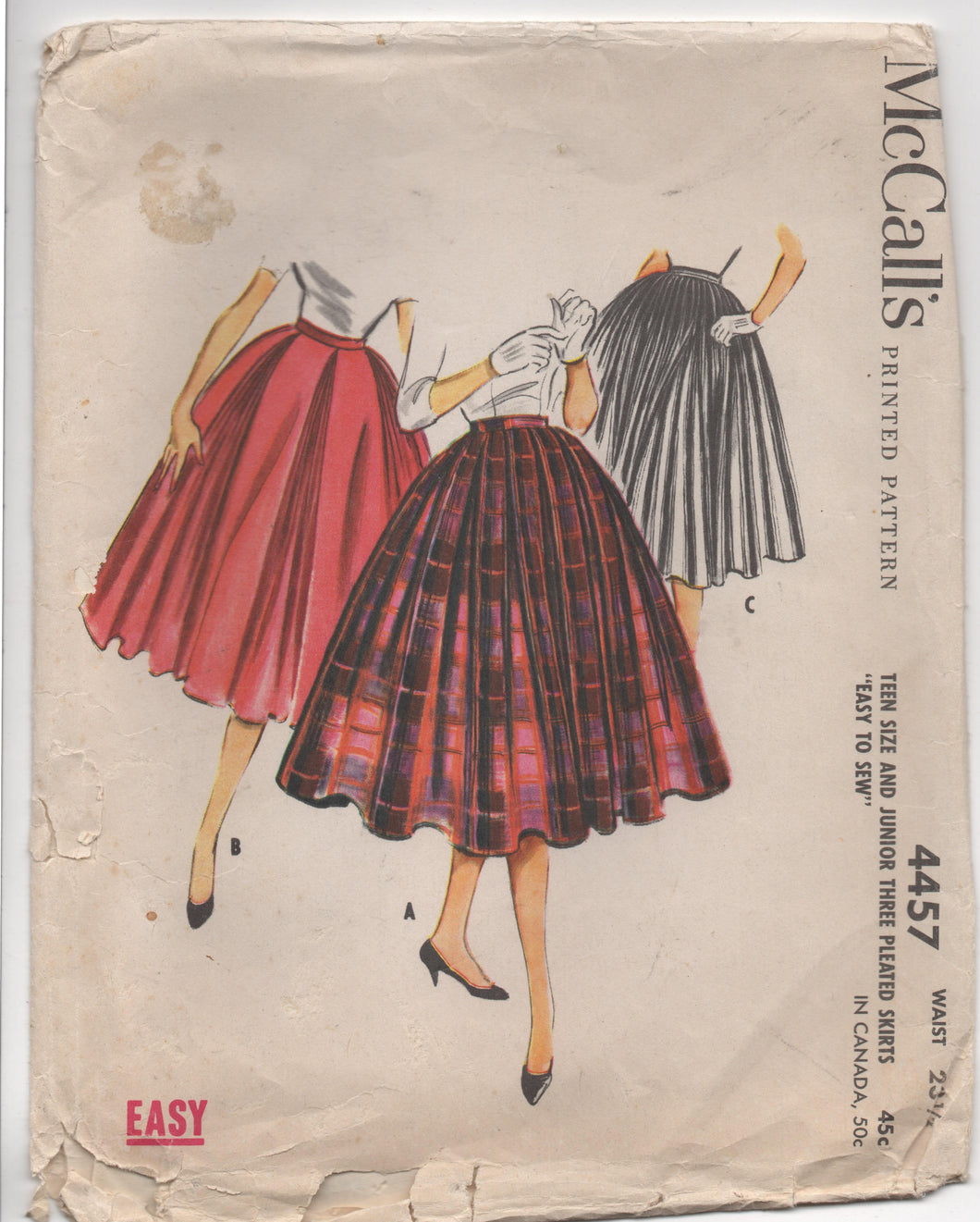 1950's McCall's Full Pleated Skirt in Three Styles - Waist 23.5
