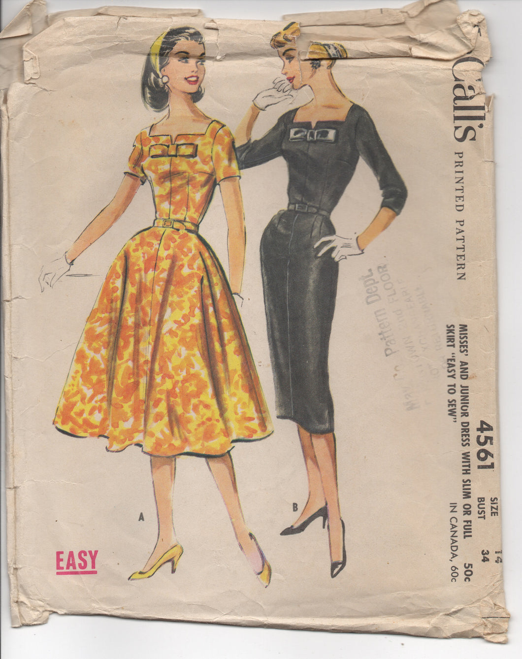 1950's McCall's One Piece Dress with Notch and Bow Detail and Two Skirts - Bust 34