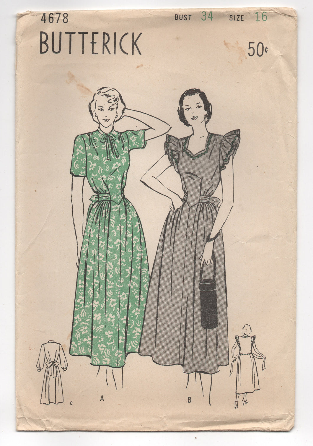 1940's Butterick One Piece Maternity Dress with Tie Waist - Bust 34