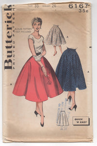 "1950's Butterick ""Easy to make"" Semi-Circle Skirt - Waist 26"" - UC/FF - No. 6171"