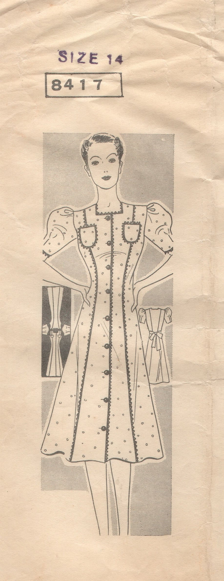 1930's Mail Order One Piece Button Up Princess House Dress with Puff Sleeves - Bust 32