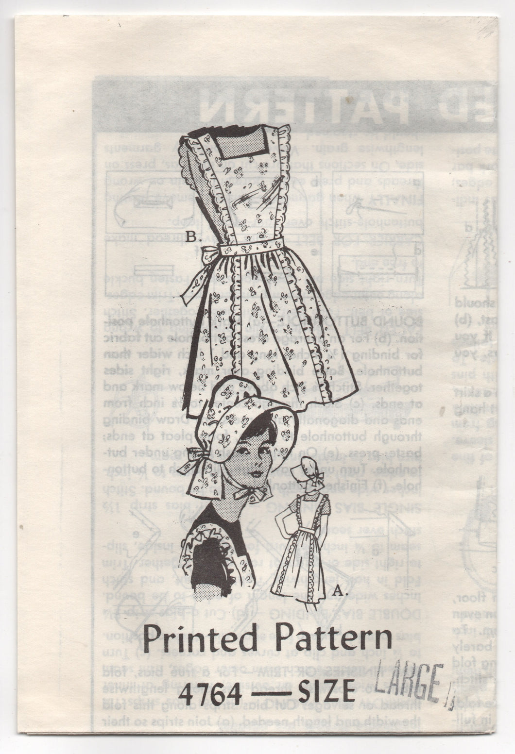 1960's Mail Order Full Apron and Bonnet Pattern - Bust 38-40