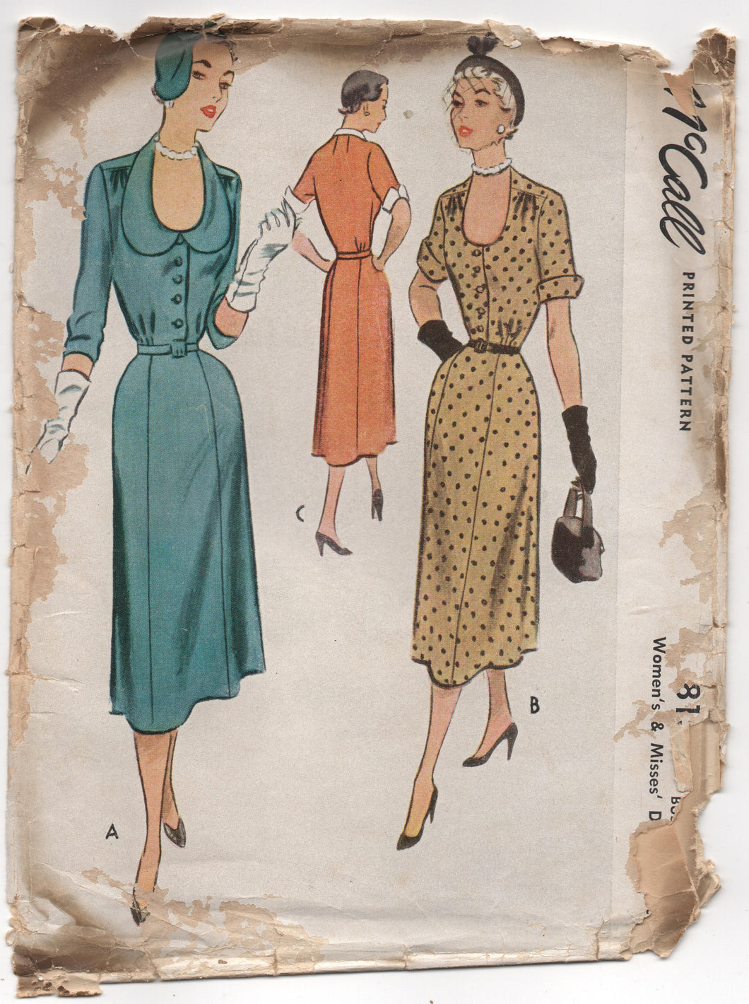 1950's McCall Scoop Neck Dress with Two Sleeve Length Pattern - Bust 38