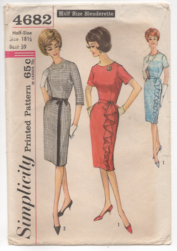 1960's Simplicity One Piece Slim Dress with Ruffle Detail on Skirt - Bust 39