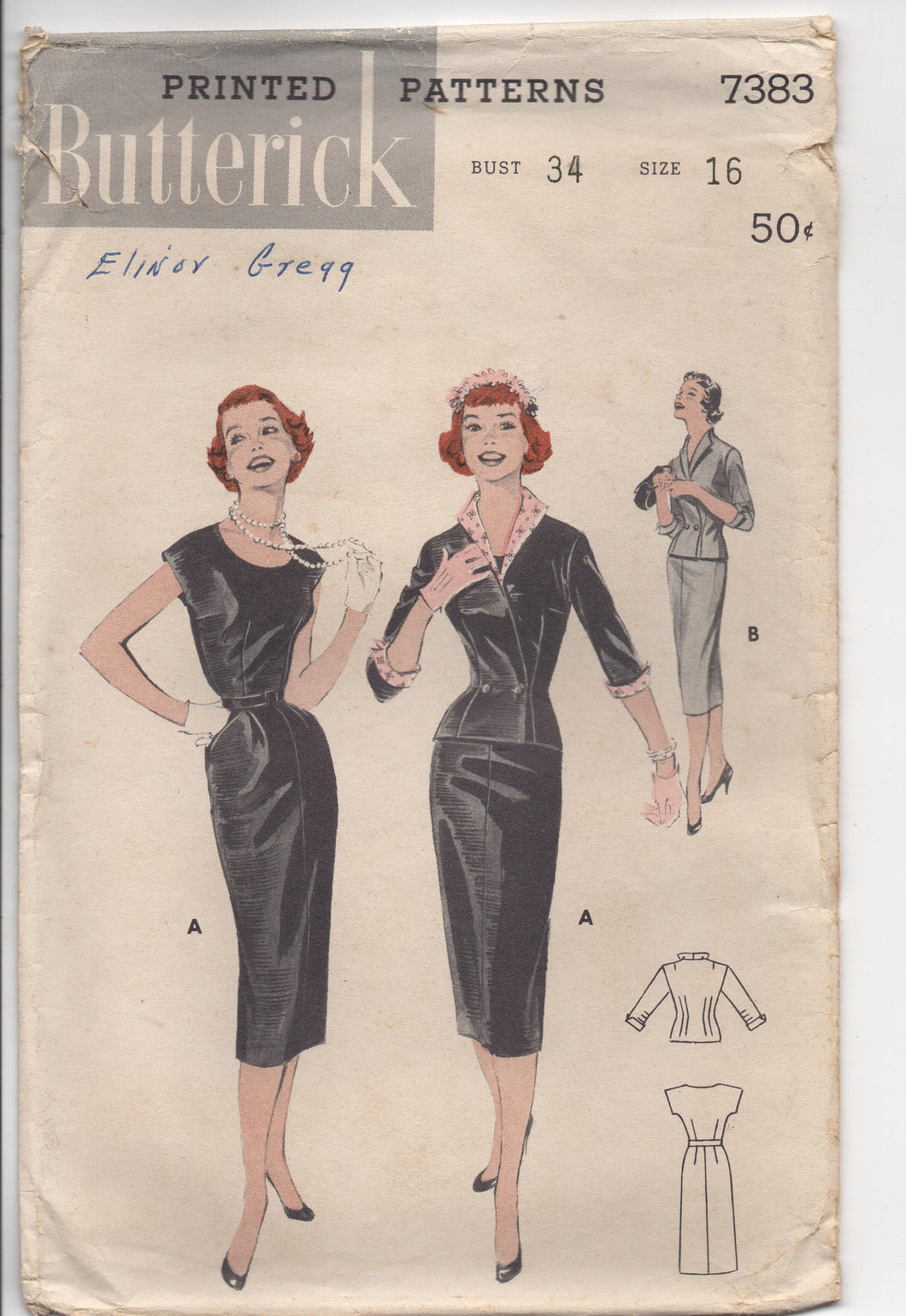1950's Butterick Slim Fit One-Piece Dress with Cross-over Jacket - Bust 34