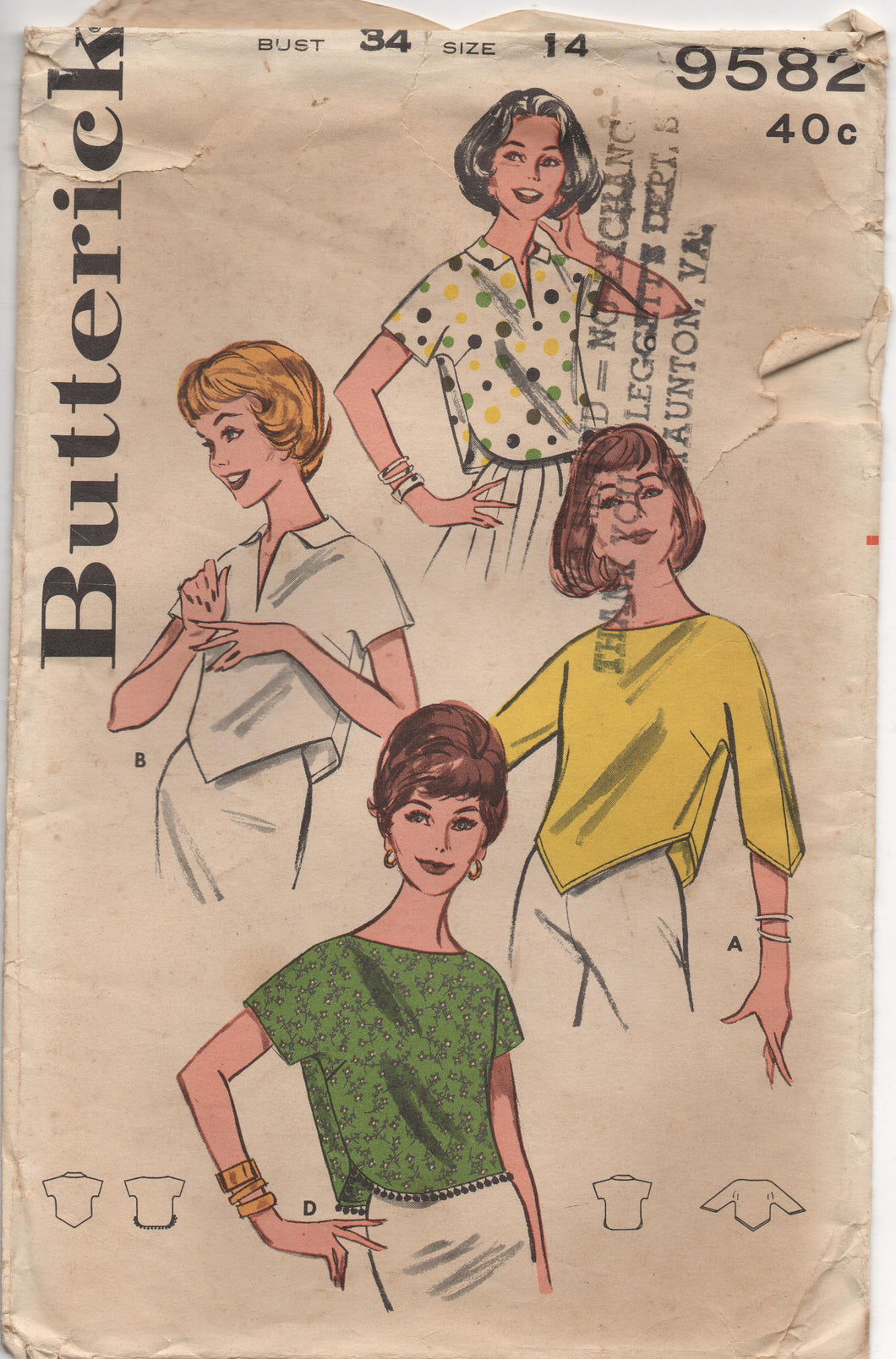 1960's Butterick Cropped Blouse in Three Styles - Bust 34