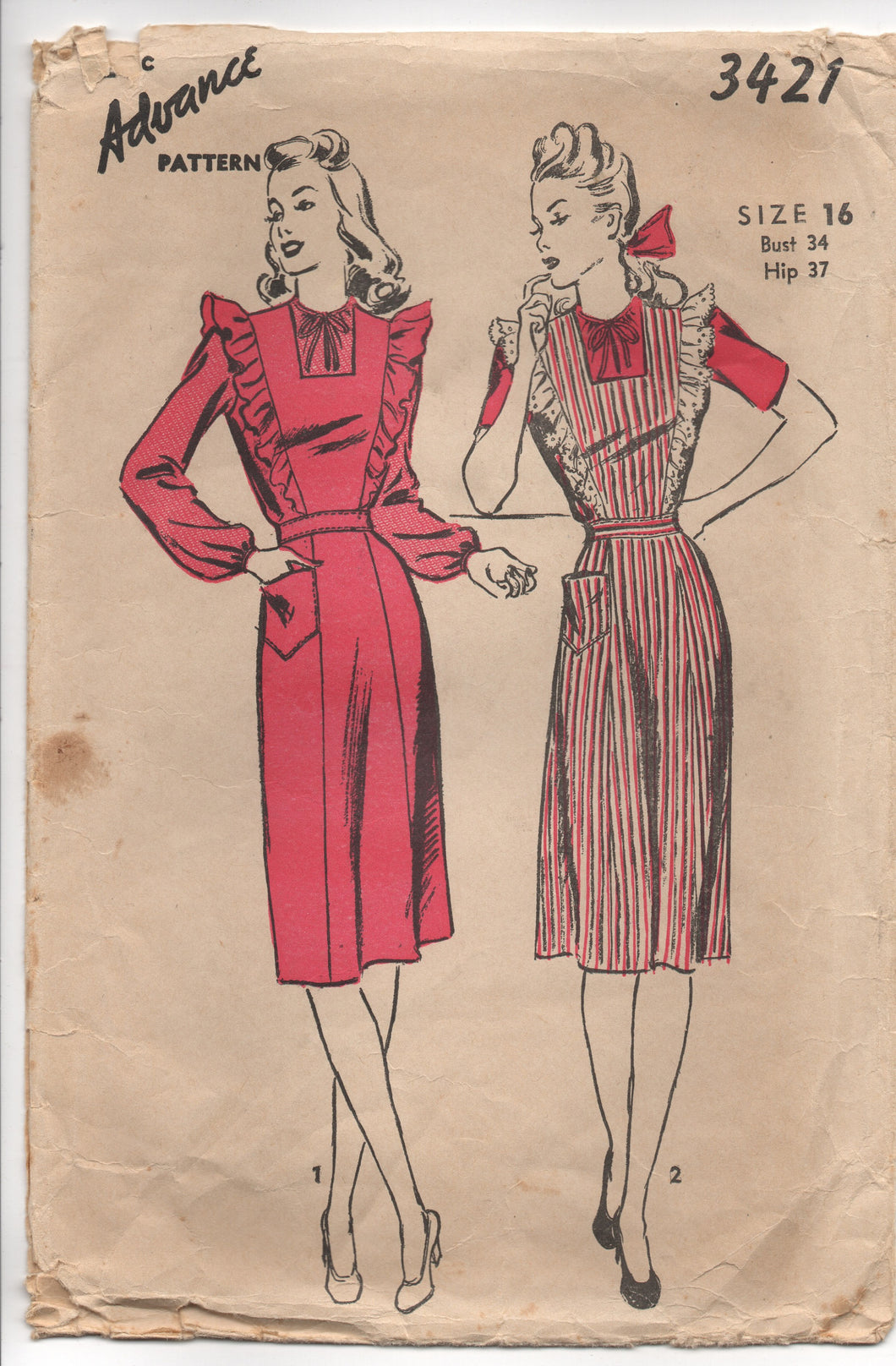 1940's Advance Pinafore Dress with Contrasting Sleeves - Bust 34