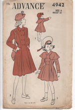 "1940's Advance Girl's Princess Coat with Cape - Breast 23"" - UC/FF - No. 4942"