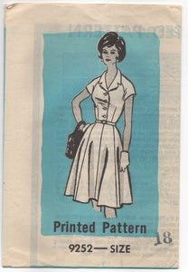 "1960's Mail Order Shirtwaist Dress with Cap Sleeves - UC/FF - Bust 36"" - No. 9252"