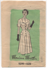 "1950's Marian Martin Shirtwaist Dress with Interesting Sleeves and Collar - Bust 36""- UC/FF- No. 9399"