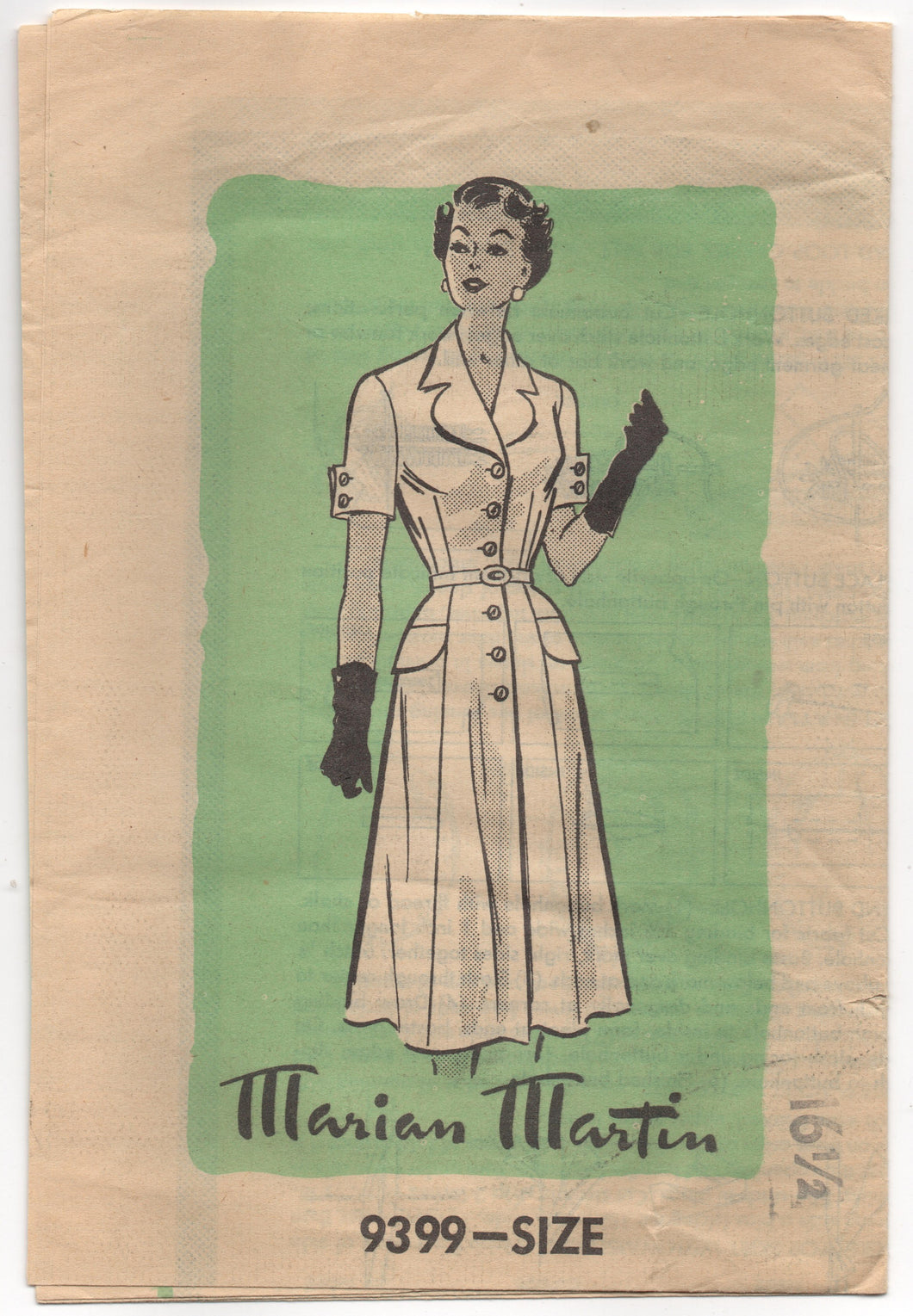1950's Marian Martin Shirtwaist Dress with Interesting Sleeves and Collar - Bust 36