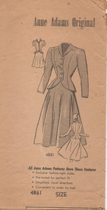 "1940's Anne Adams Two Piece Suit pattern with Peplum - Bust 30"" - No. 4861"