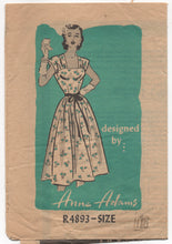 "1950's Anne Adams One Piece Dress with Yoked Bodice - Bust 34"" - No R4893"