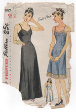 "1940's Simplicity Long or Short Slip - Bust 36"" - No. 1997"