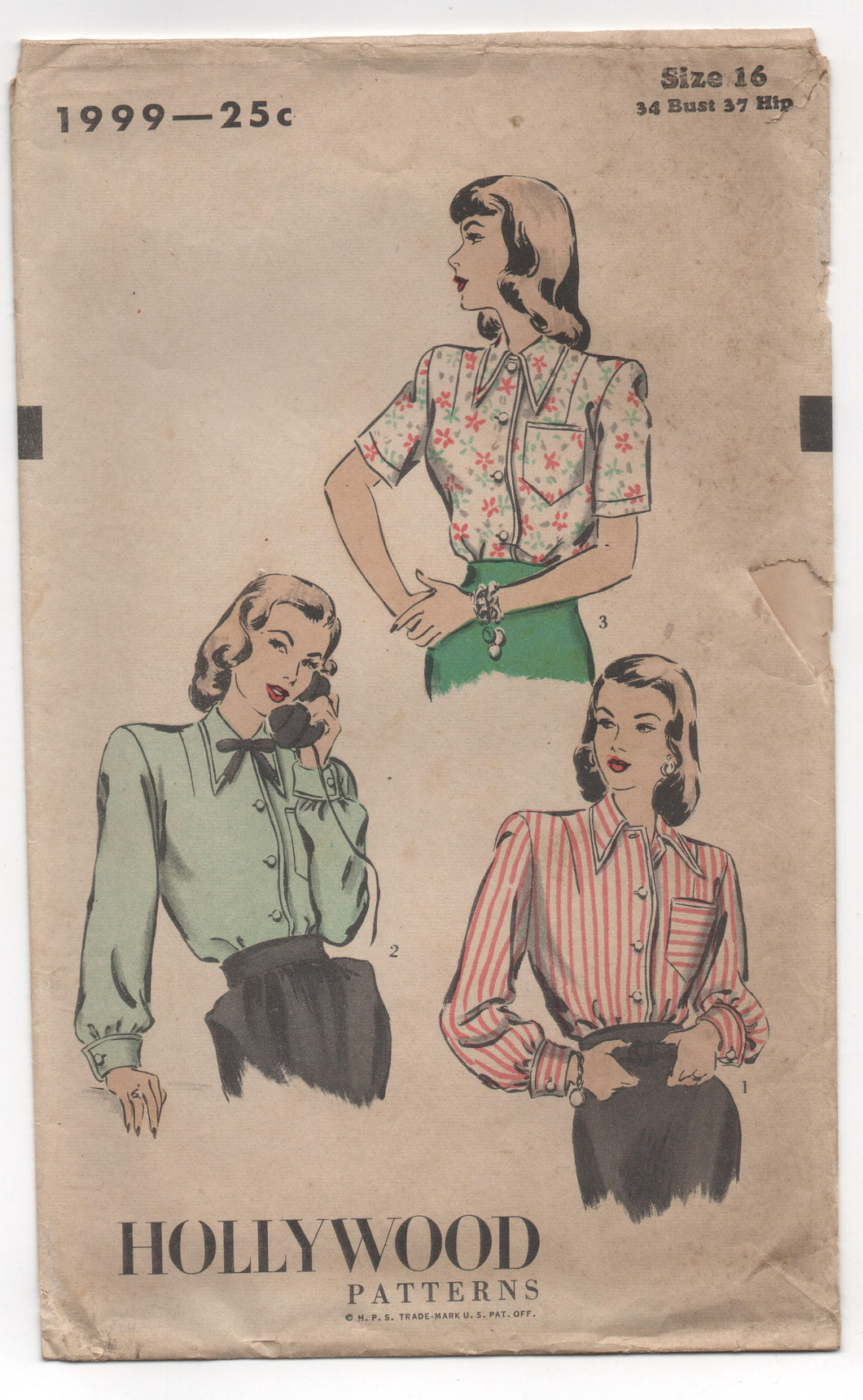 1940's Hollywood Button-Up Blouse Pattern with Pocket and Two Sleeve Lengths - Bust 34