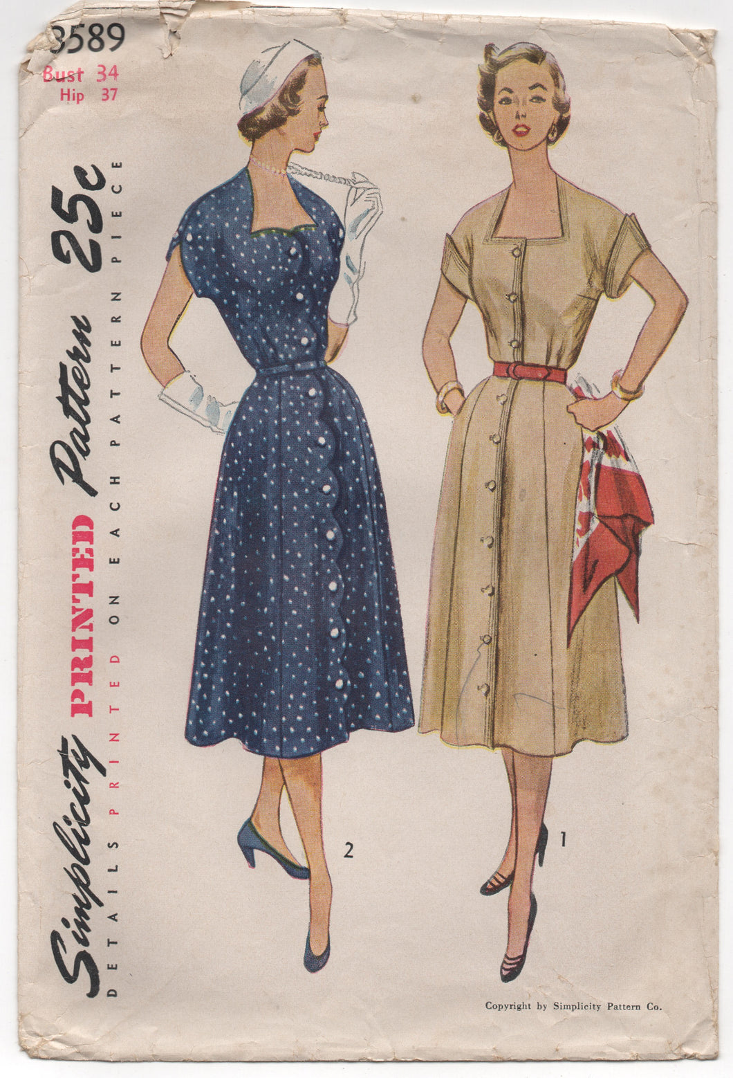 1950's Simplicity Shirtwaist Dress with Sweetheart and Scallops - Bust 34