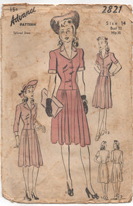 "1940's Advance One Piece Dress with Drop Waist and Short or Bracelet Sleeves - Bust 32"" - No. 2821"