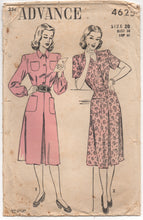 "1940's Advance One Piece Day Dress with Pockets - Bust 38"" - No. 4625"