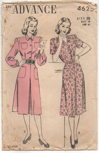 1940's Advance One Piece Day Dress with Pockets - Bust 38