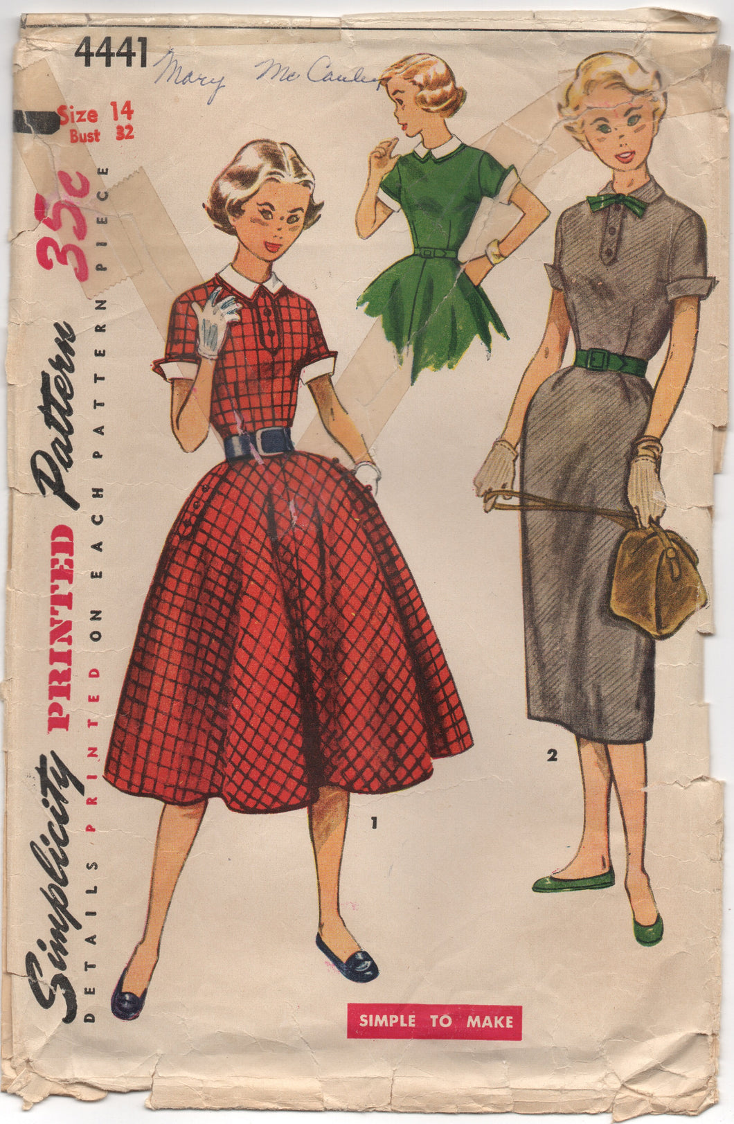 1950's Simplicity One Piece Dress with Full or Slim Skirt and Collar and Cuffs - Bust 32