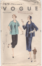 "1950's Vogue Maternity Two Piece Dress with Full Jacket, Two Sleeve Options - Bust 30"" - No. 7879"