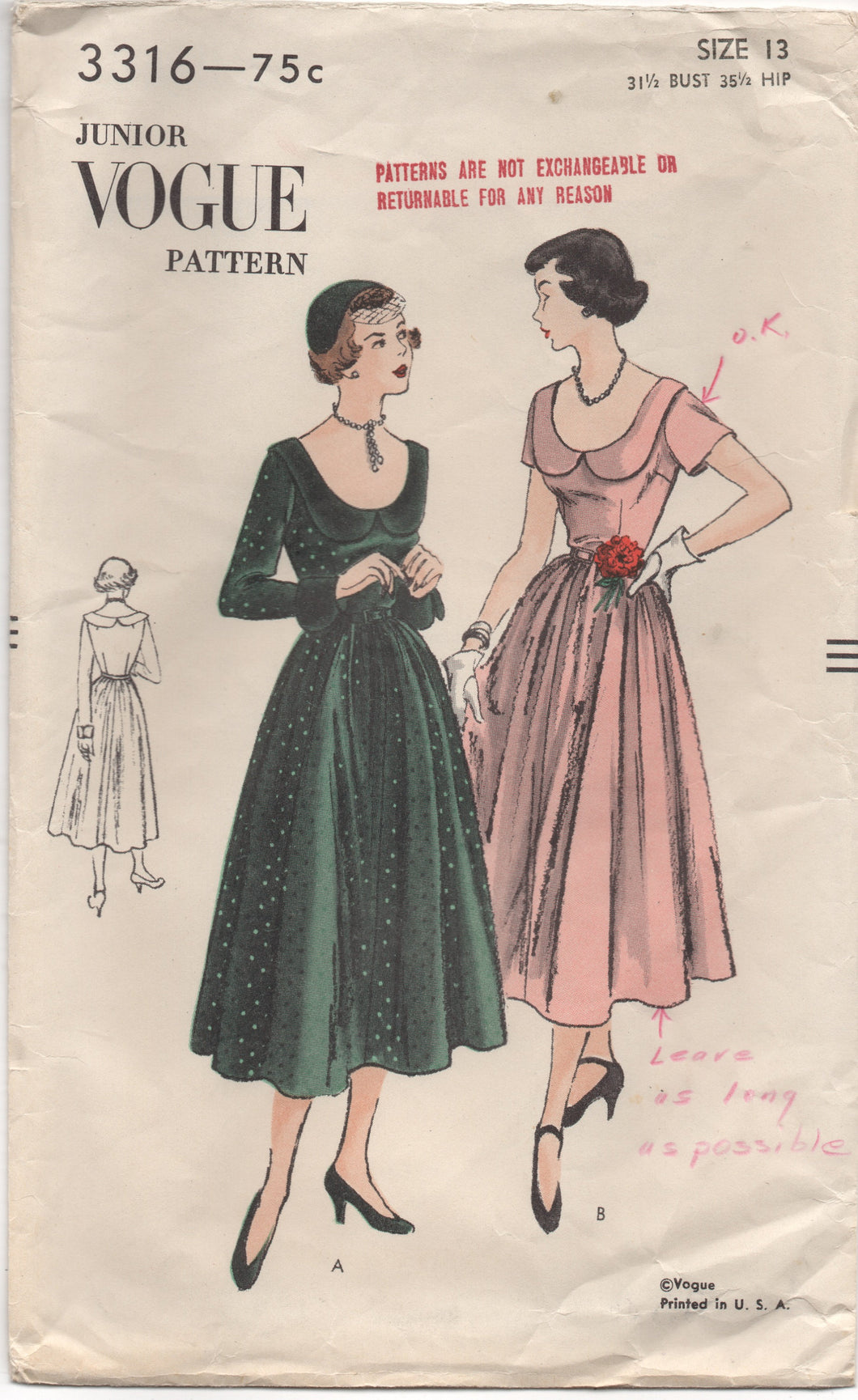 1950's Junior Vogue One Piece Dress with Deep Neckline and Scoop Collar - Bust 31.5