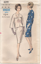"1960's Vogue Two Piece Dress with Wide Kimono Sleeves - Bust 31"" - No. 6291"