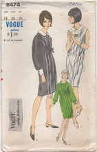 "1960's Vogue One Piece Shift Dress with Pleats and Belt - Bust 34"" - No. 6474"