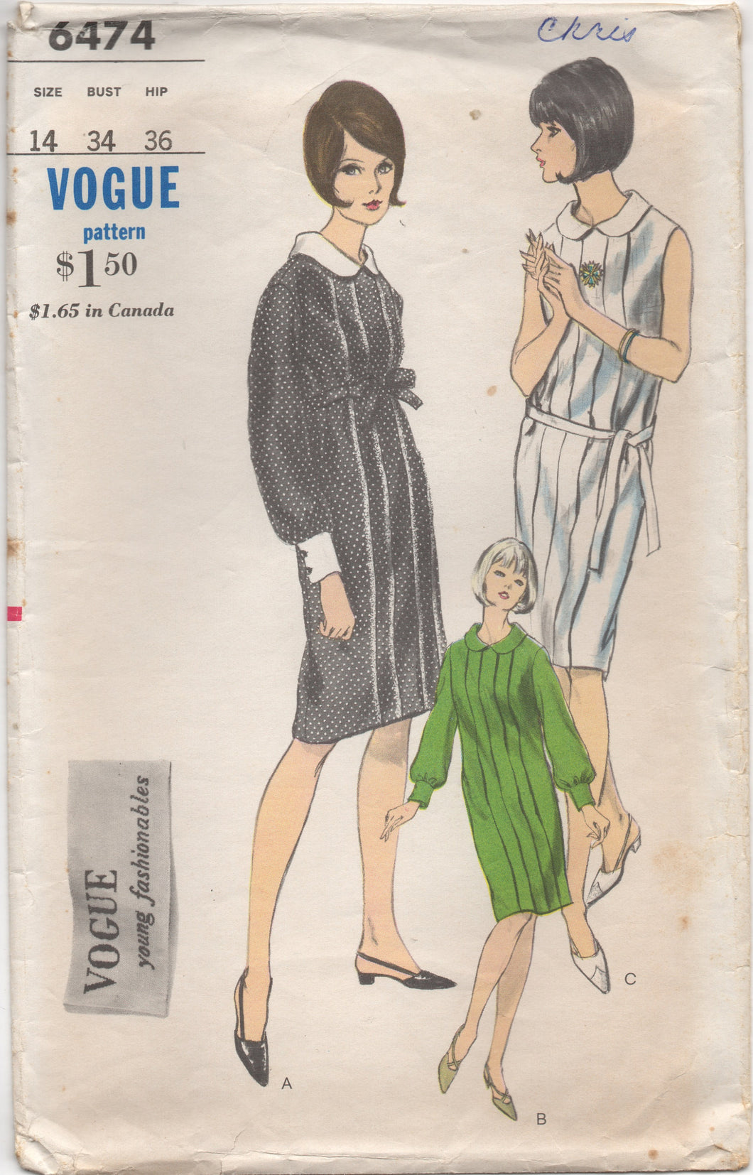 1960's Vogue One Piece Shift Dress with Pleats and Belt - Bust 34