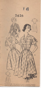 "1950's Mail Order One Piece Dress with Flutter Sleeves, short sleeve and full skirt - Bust 34""- No. 2626"