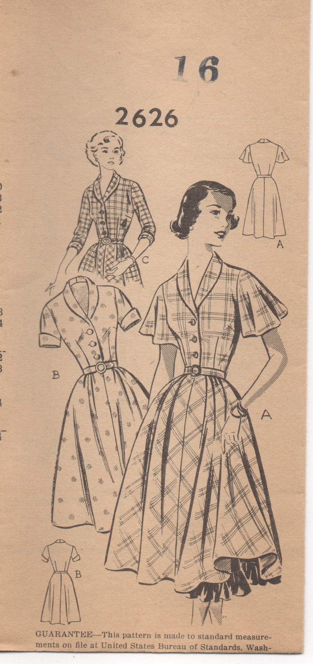 1950's Mail Order One Piece Dress with Flutter Sleeves, short sleeve and full skirt - Bust 34