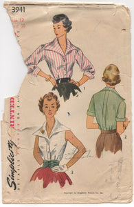 "1950's Simplicity Blouse with oversize Collar and Cummerbund Pattern - Bust 30"" - No. 3941"