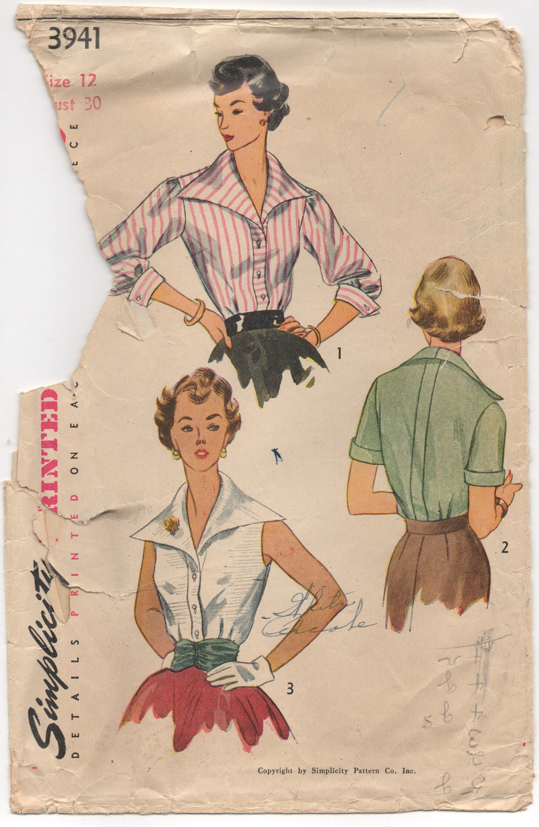 1950's Simplicity Blouse with oversize Collar and Cummerbunds Pattern - Bust 30