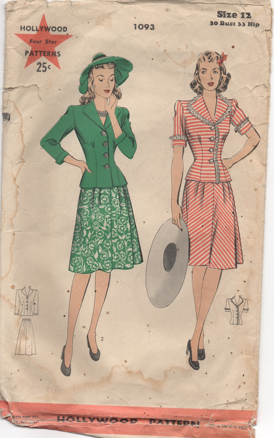 Wartime 1940's Hollywood Two Piece Dress with Short Sleeves and Flared Skirt - Bust 30