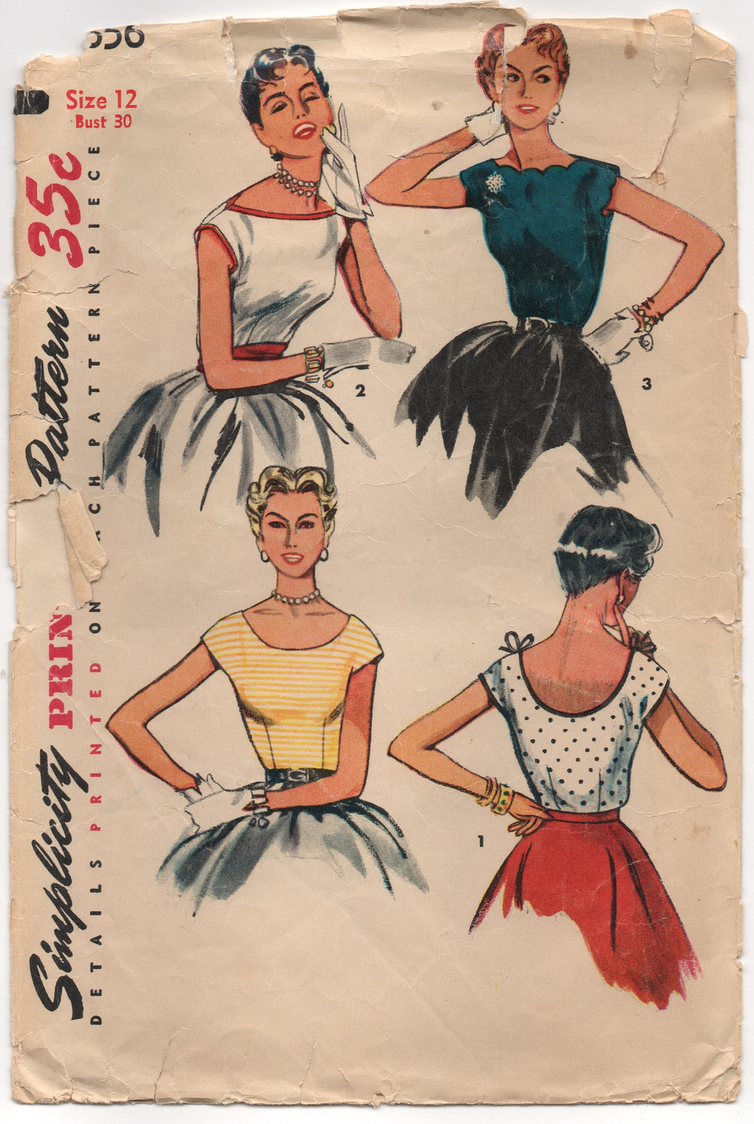 1950's Simplicity Blouse Pattern with Scallop, Straight or Curved Neckline - Bust 30
