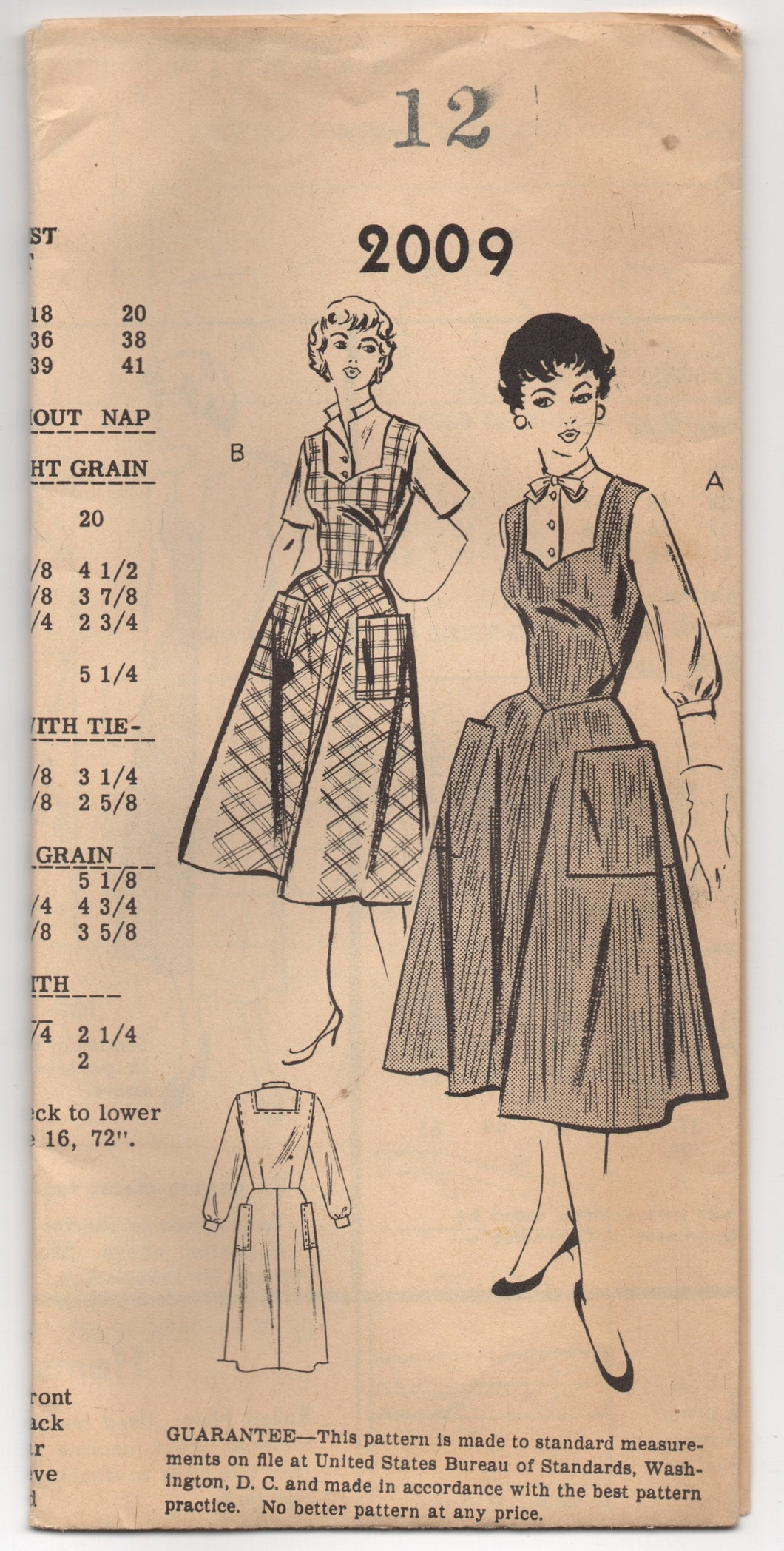 1950's Mail Order One Piece Dress with Large Pockets and Blouse Pattern - UC/FF- Bust 30