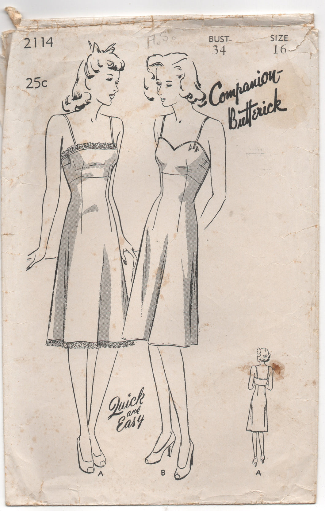 1940's Companion Butterick Slip and Camisole Pattern - Bust 34