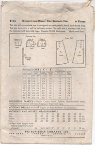 "1940's Companion Butterick Slip and Camisole Pattern - Bust 34"" - No. 2114"