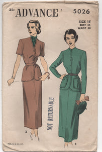 "1940's Advance Two Piece Dress with Belt and Slim Skirt - Bust 34"" - No. 5026"