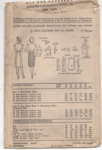"1940's Advance One Piece Shirtwaist Dress with Bow Detail at Waist - Bust 34"" - No. 6813"
