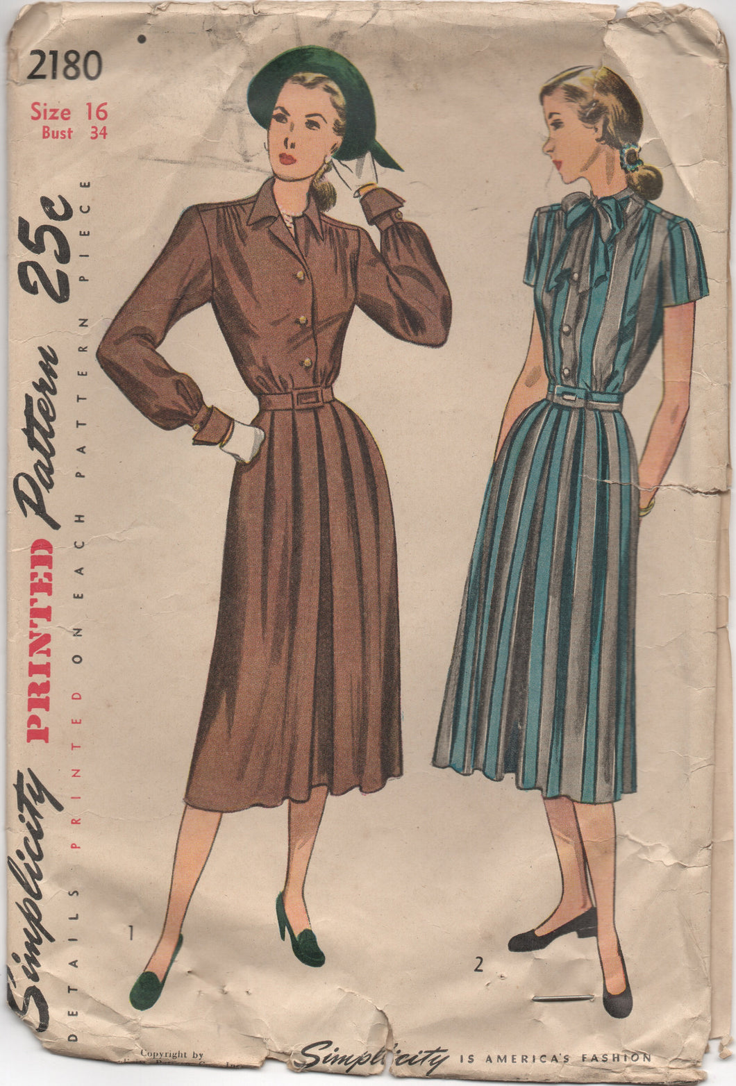 1940's Simplicity Shirtwaist Dress with Soft Pleats, Bow Detail at Neck - Bust 34