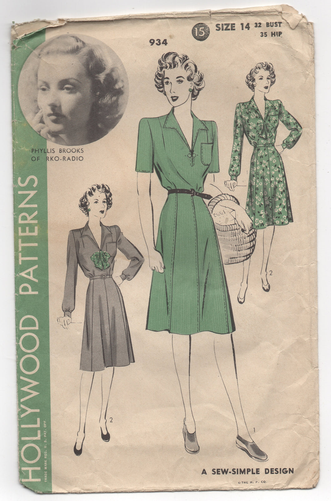 1940's Hollywood Sew-Simple Day Dress with Bow Detail and Pocket - Bust 32