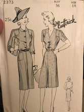"1940's Butterick One Piece Dress with Shoulder Yokes and Gathers - Bust 36"" - UC/FF - No. 2373"