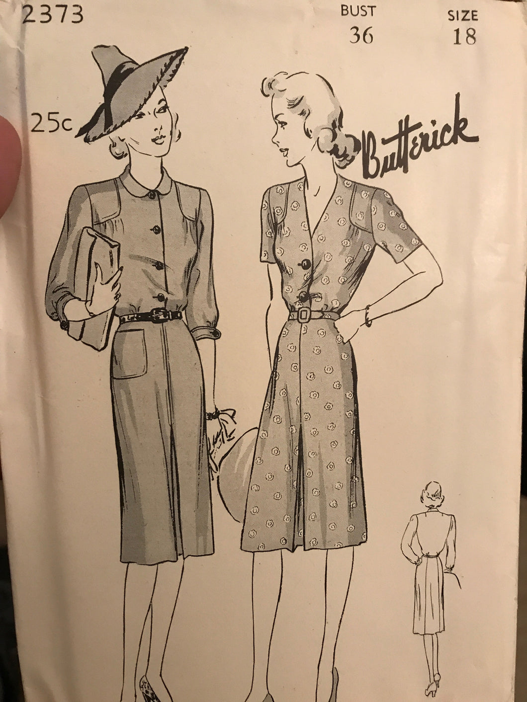 1940's Butterick One Piece Dress with Shoulder Yokes and Gathers - Bust 36