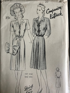 "1940's Butterick ""Afternoon"" Dress with Loop Closure - Bust 38"" - UC/FF - No. 2021"