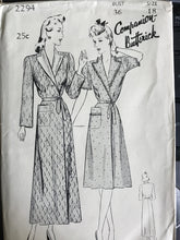 "1940's Butterick Robe or Brunch Coat with Notched Collar - Bust 36"" - UC/FF - No. 2294"